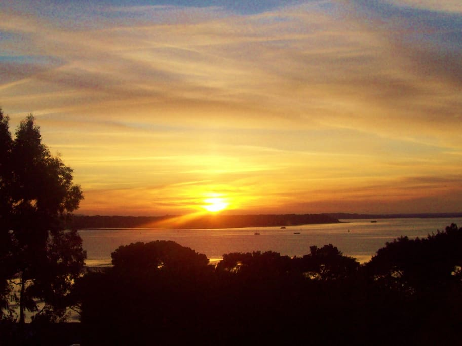 Sun set over Poole bay