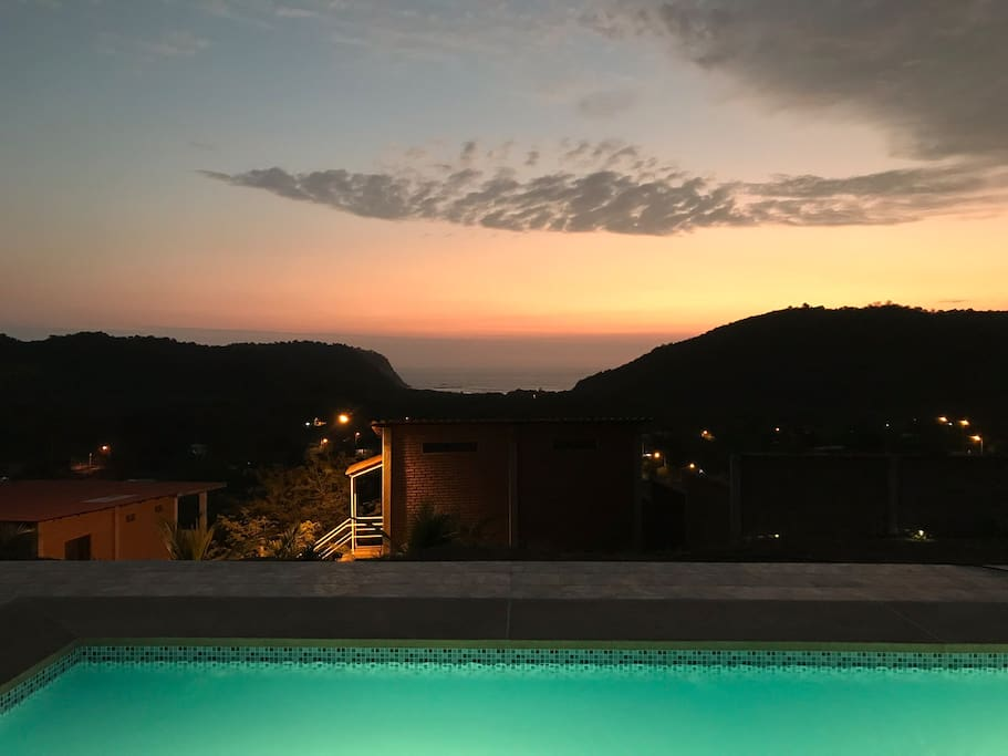 Evening views from the upper terrace and pool