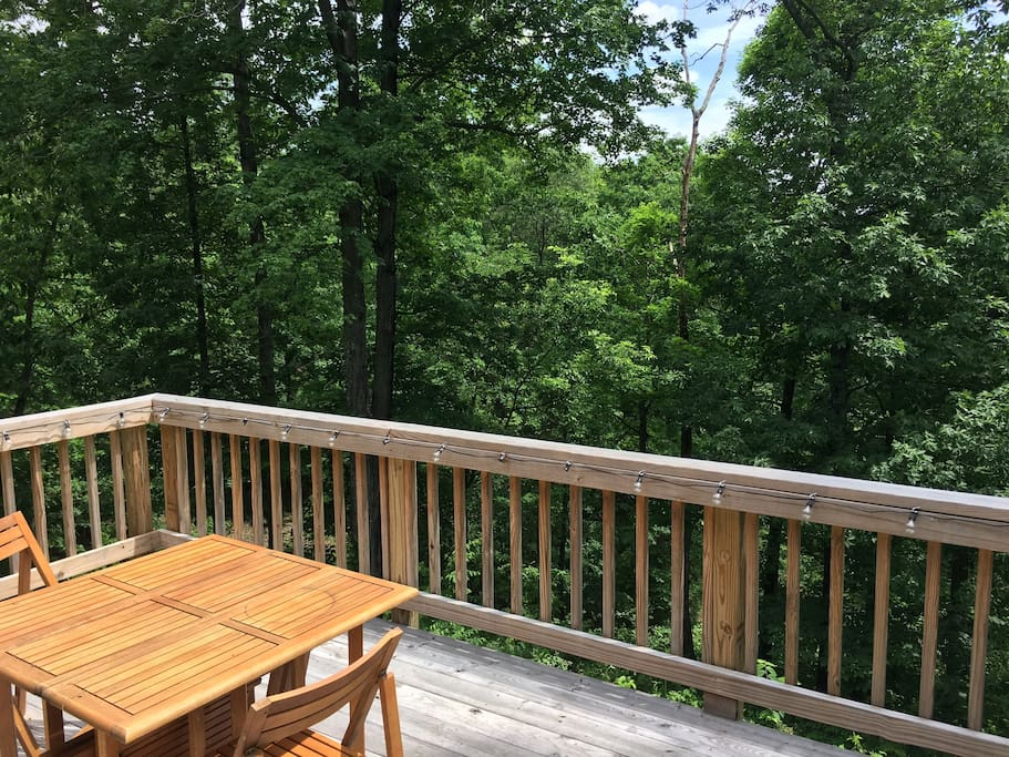 Deck off of the bedroom area with views overlooking the valley