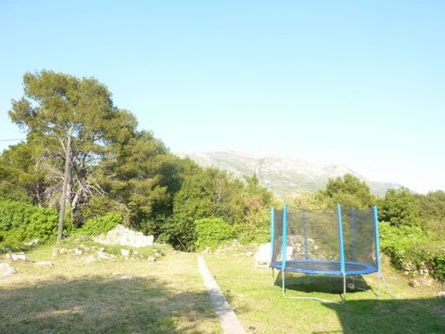 Garden with views of the mountains and a kids trampoline.