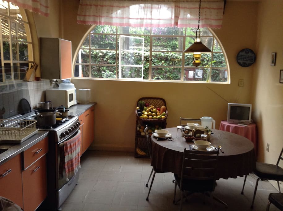Kitchen with table for breakfast and everything you may need to cook almost anything.