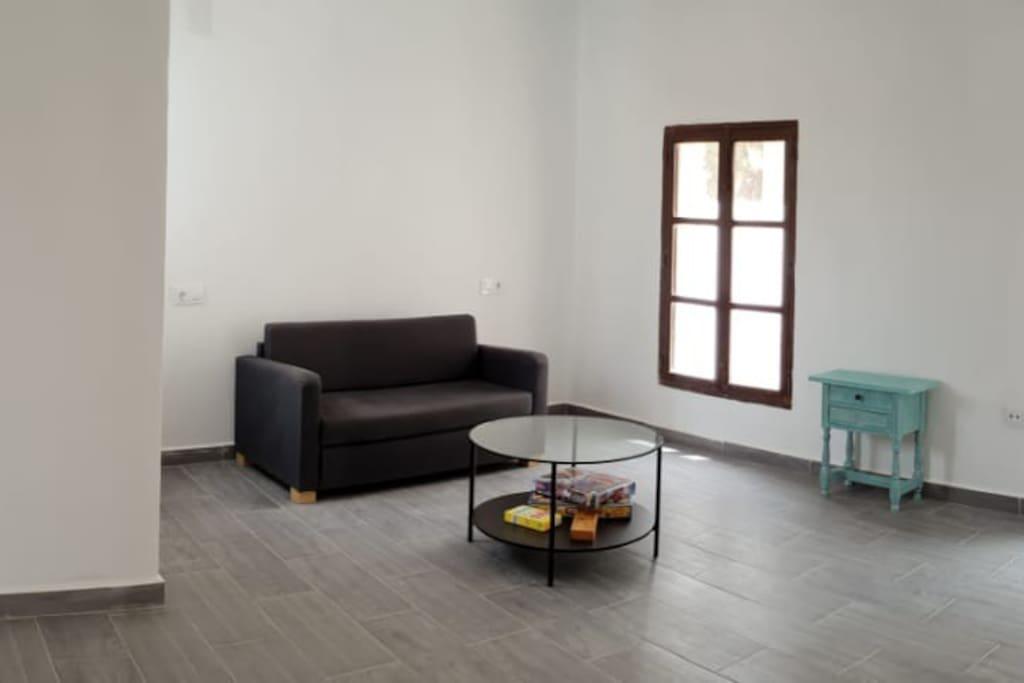 Habitacion diafana con sofa cama , con salida a una terraza