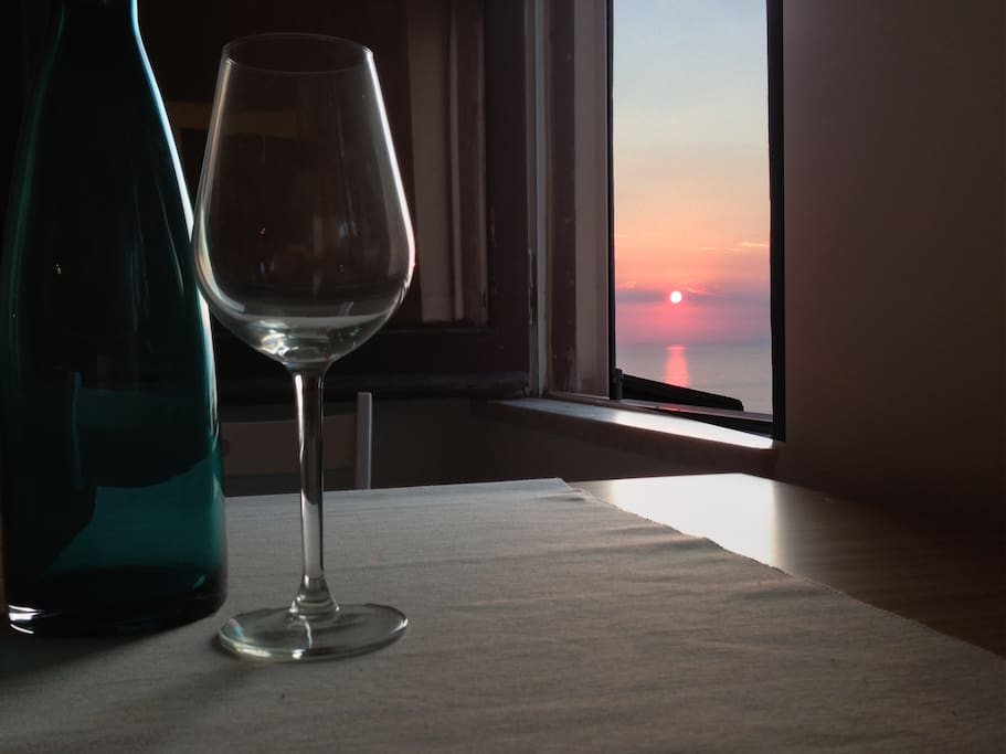 The sunset from the table