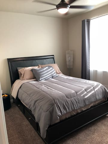 """Queen size bed with 3"""" memory foam."""