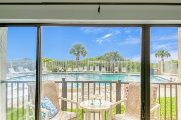 ** On the beach! Enjoy walking right out of your patio door to pool and beach! *