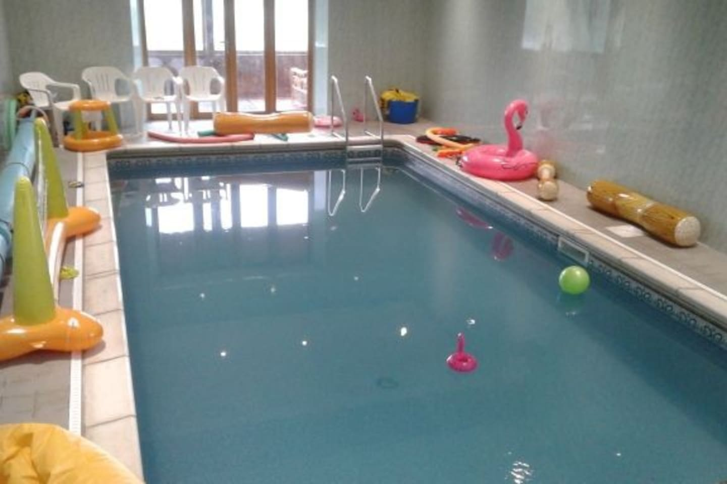 Shared indoor heated swimming pool for everyone to enjoy.