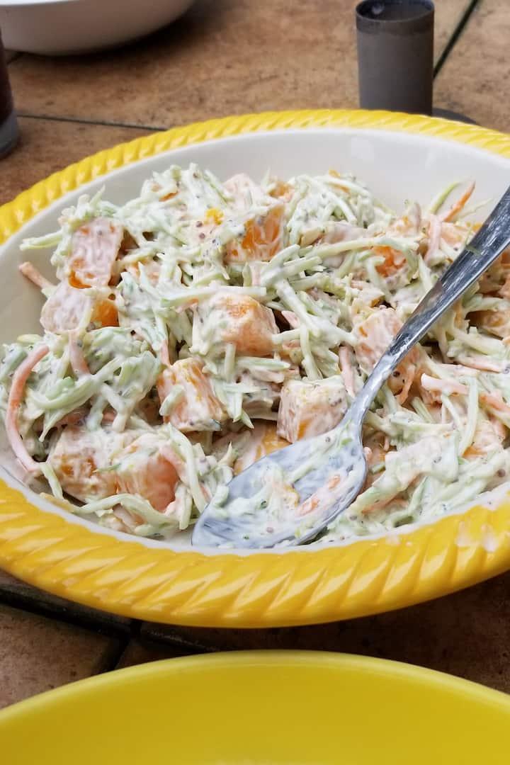 Squash and broccoli slaw salad.