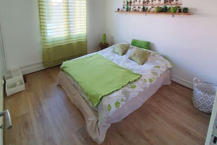 """Chambre à l'esprit """"Green"""" avec lit double"""