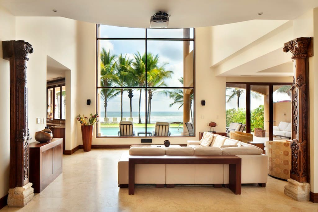 Spacious living room with spectacular ocean views