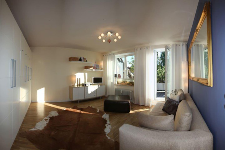 sonniges WohnSchlafzimmer mit Zugang zum Süd-West-Balkon, stabiles SchrankBett 140x200cm, TV, HiFi, etc...