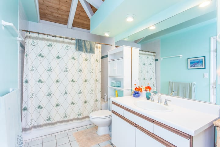 The private hall bathroom that is associated with the Kahuna Room.