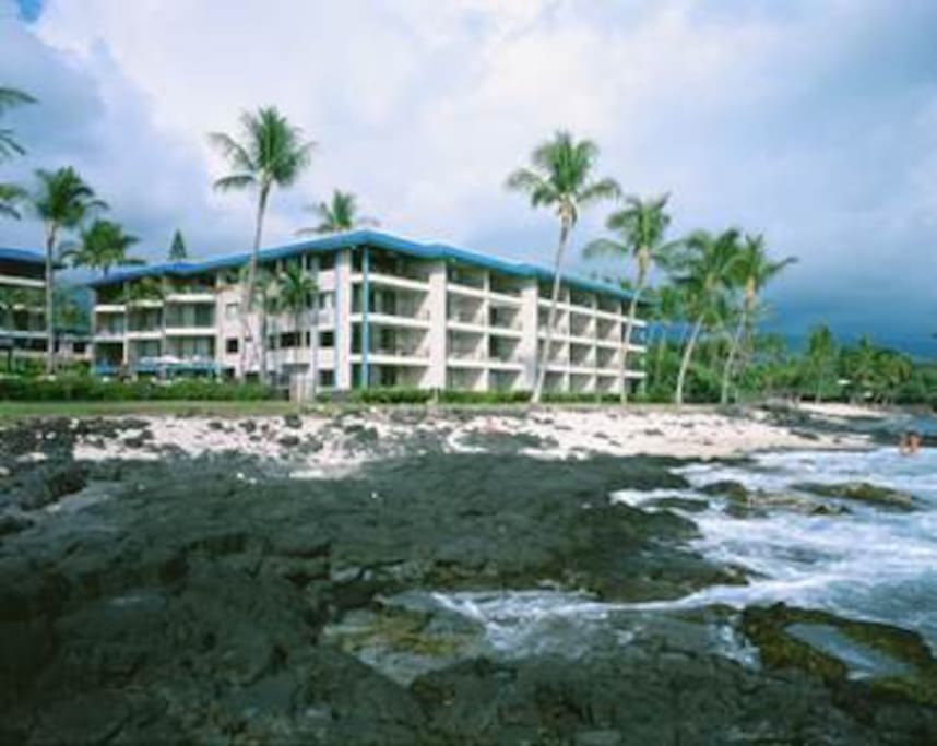 A sea turtle's view of your 3rd floor condo at The Kona Reef resort