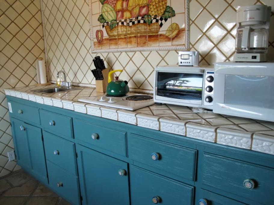 Kitchen. Yes, that's a reflection of the palm trees!