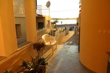 balcony of the apartment.in a quiet position,across the sea