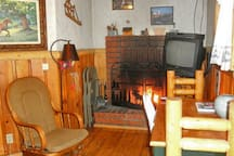 Fireplace, Flat screen TV,