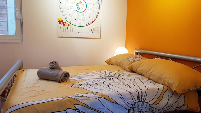 orange guest room with queen size bed