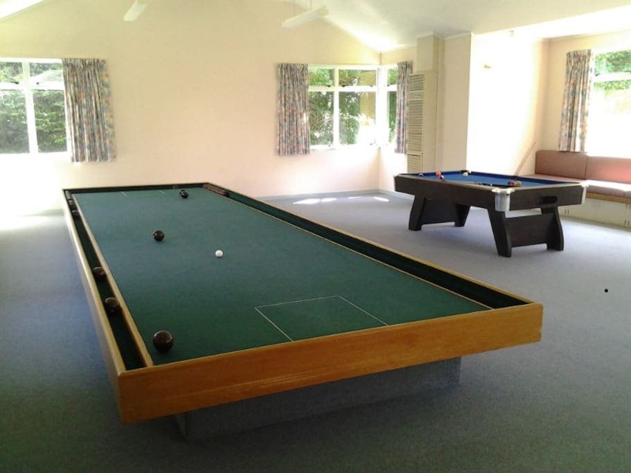 The games area has pool, table tennis, indoor bowls and more.