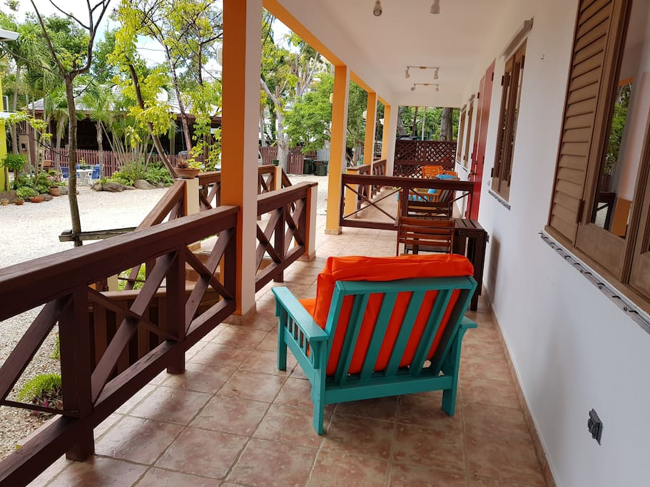 Private balcony with couch and table