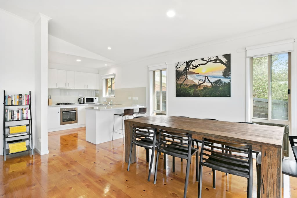Kitchen opens onto dining