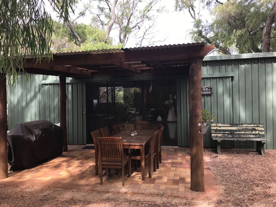 Outdoor pergola, seating and BBQ