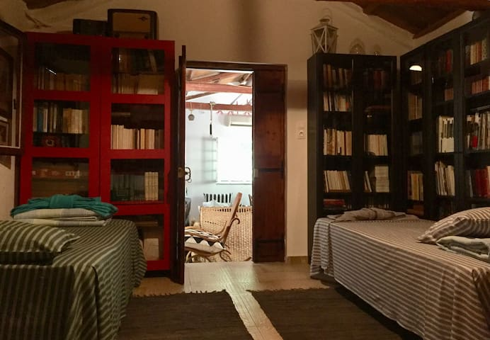 …two single beds and bookcases - Kitchen entrance