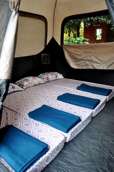 Bedding arrangements inside the tent