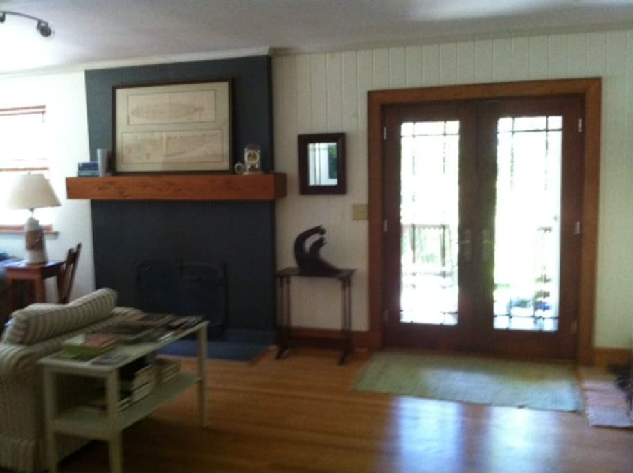 Front entrance with indoor fireplace to the left