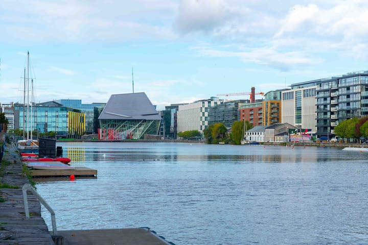 Impressive views of the Bord Gáis Theatre from the front door