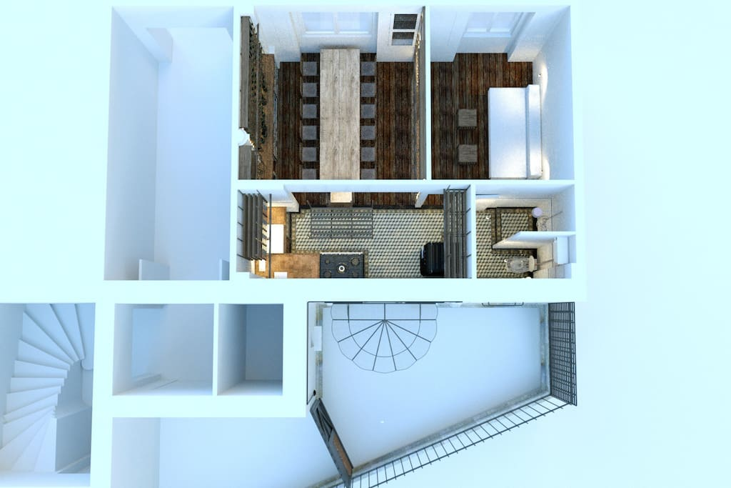 3D visualisation of the 30m2 apartment, with a 14m2 private courtyard.