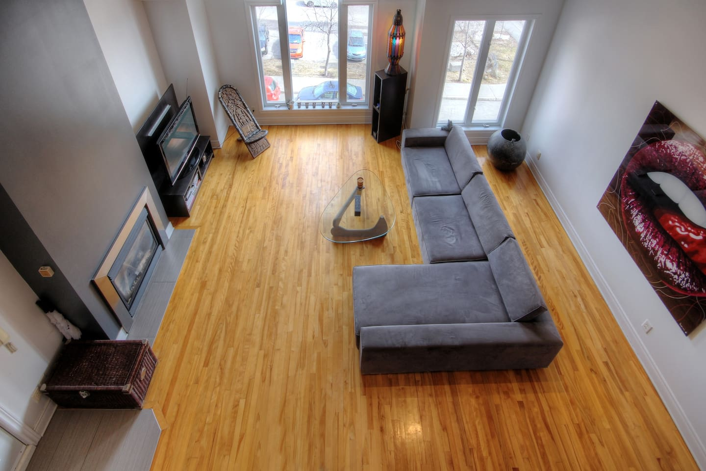 View from mezzanine on living room