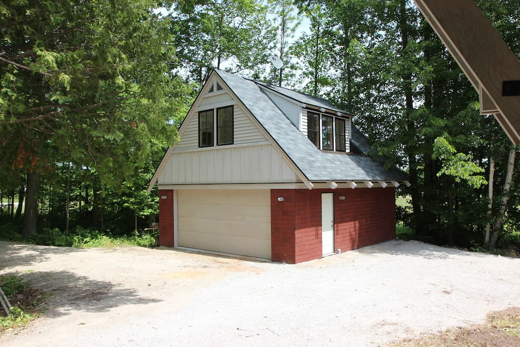 Garage with Storage & bike/ stand up paddle board location,  studio on Second floor for 3rd bedroom