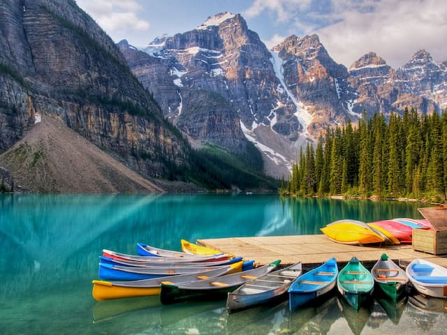 Moraine Lake is a glacially-fed lake in Banff National Park