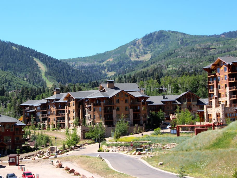 Surrounded by mountains & views of the runs @ Canyons.