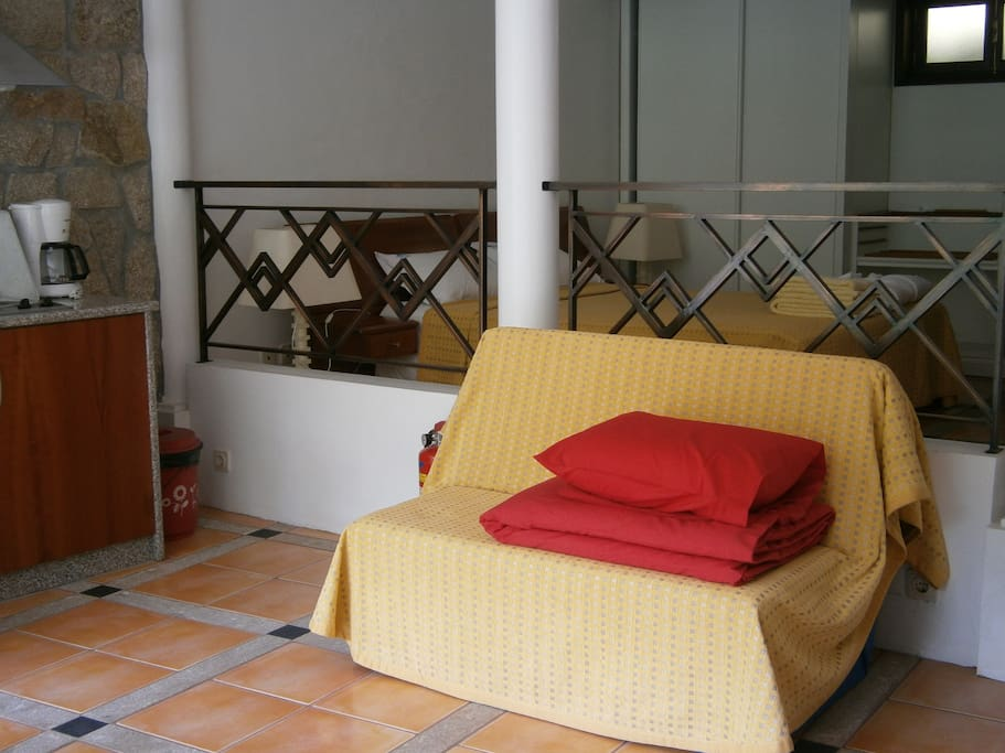 Studio 1 - double bed and little sofa-bed