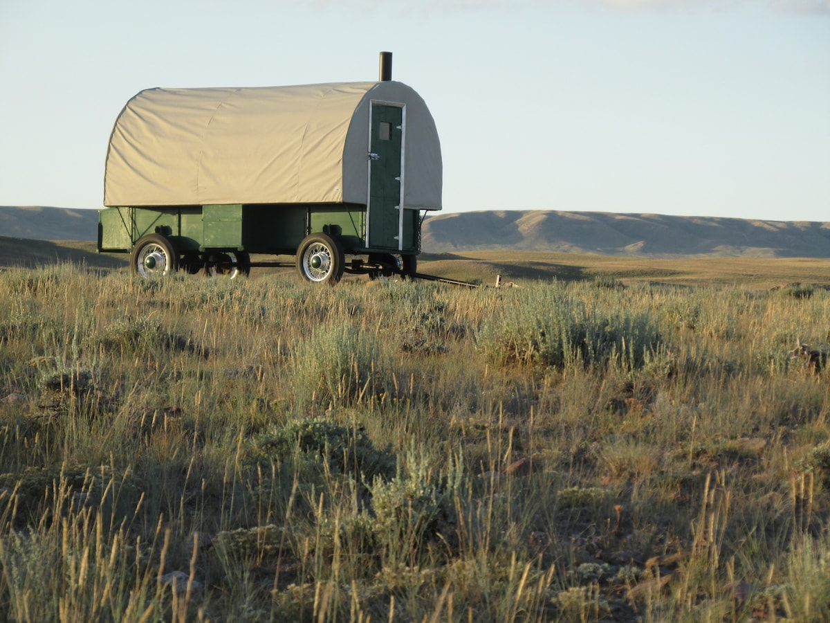 Beautiful Fully Restored 1920s Sheep Wagon Pictured On Our Family Ranch.
