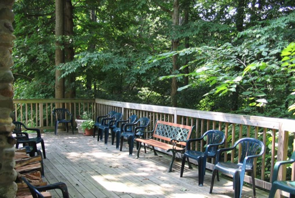 Large deck with second patio on lower level with outdoor grill provided.