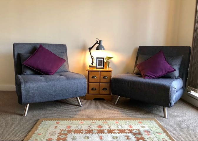 Cosy Living Room With Two Sofa Chairs. These fold out to make two single beds.