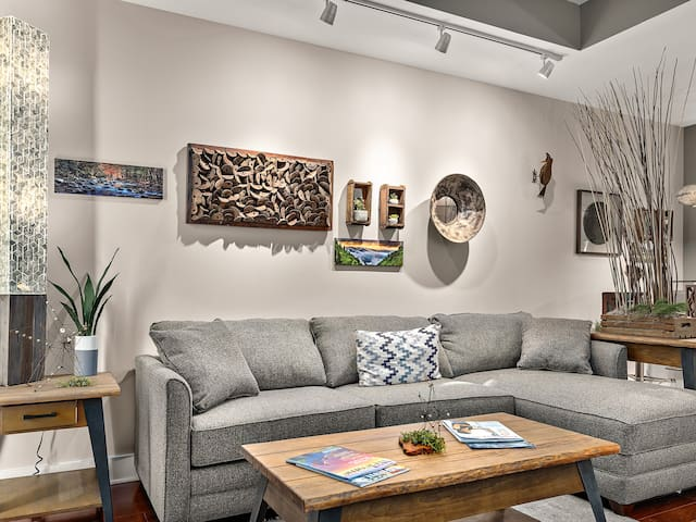 Cozy living room with funky Asheville art. Lots of natural light.