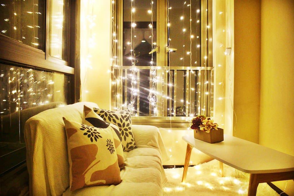 小客厅,拍照超级美,窗外看夜景江景