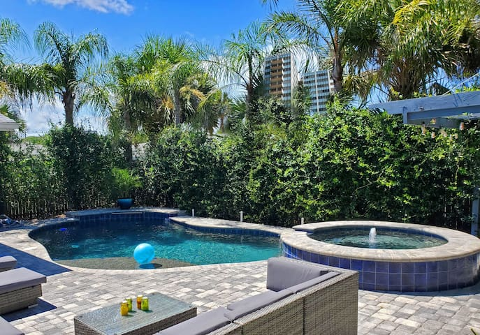 Private Pool & Hot Tub - Walk to Flagler Ave
