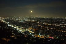 Moonrise over L.A. from the balcony