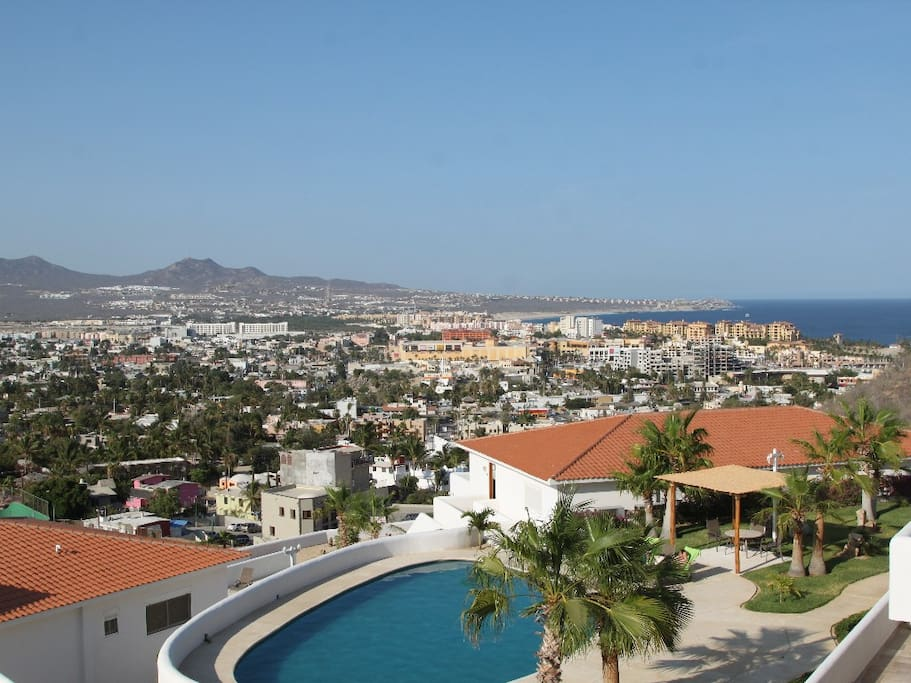 The View from the first floor terrace. The marina, El Medano Beach, and downtown! We have two tranquil pools on the property.
