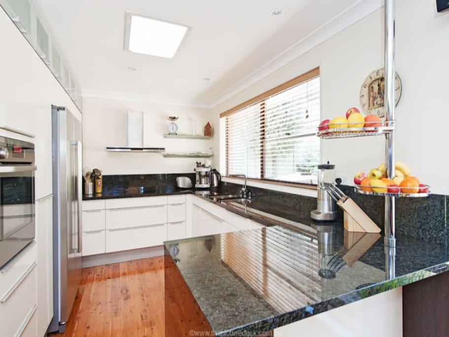 Kitchen with modern appliances.