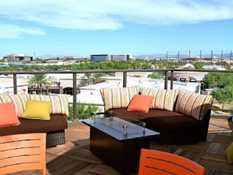 Sit up on the rooftop deck and  relax after a fun day in the valley