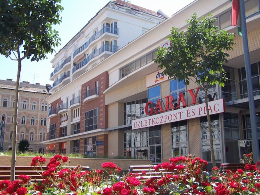 Garay shopping center in front of the apartment (with food market, bakeries, self sevice restaurants,...and underground garage where the weekly price only 17 Euro/week !!! )