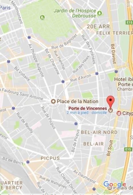 up : Père Lachaise ; down : parc de Vincennes & Bercy ; left : Nation & Bastille