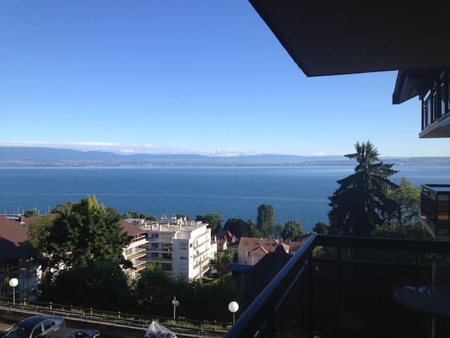 Beau T2, magnifique vue lac leman! - Évian-les-Bains - Apartamento