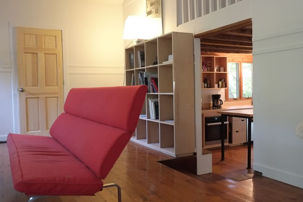 Living space featuring historic modern furniture