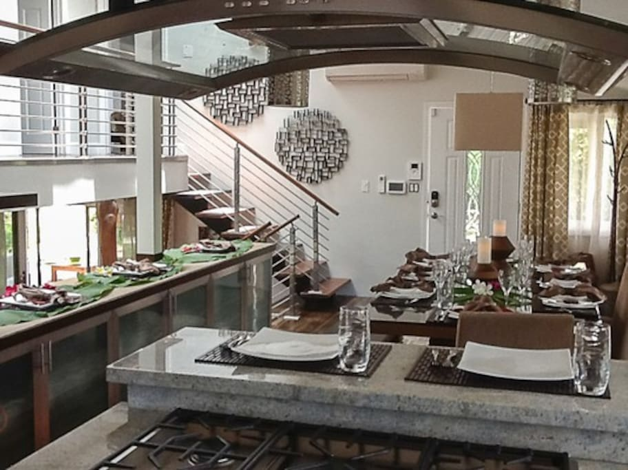 Designer touches throughout the kitchen and dining rooms. Bright, open floor plan.