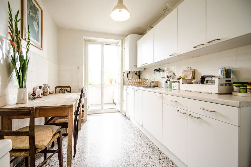 kitchen with access to the balcony